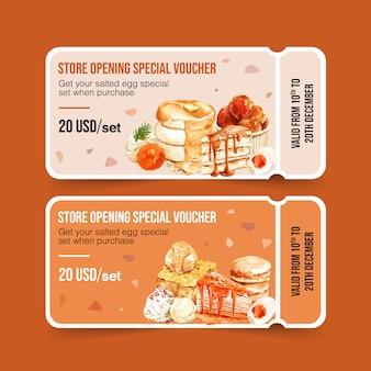 Solony jajko kupon projekt z ciasta, tostów, naleśnik akwarela ilustracja.