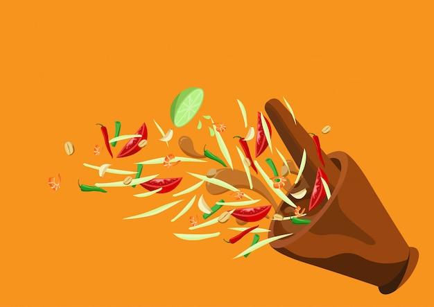 Som tum. tajskie jedzenie papaja sałatka wektor wzór