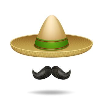Sombrero i wąsy meksykańskie symbole dekoracyjne zestaw ikon