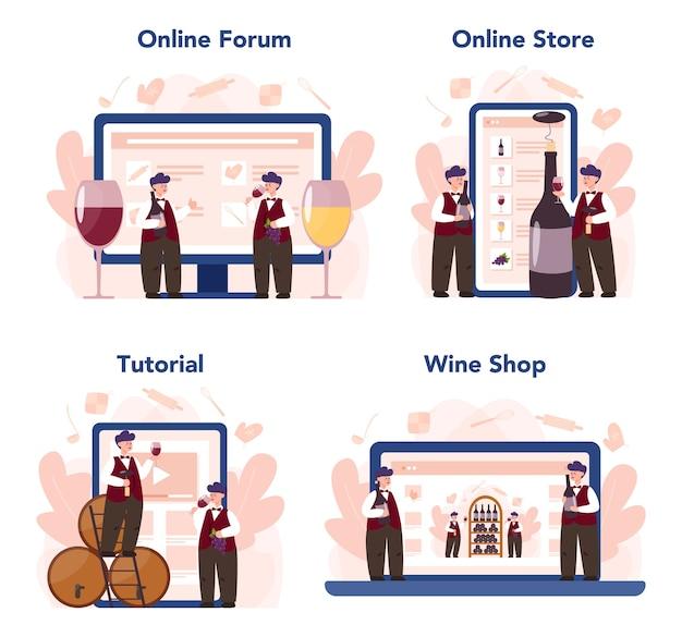 Sommelierski serwis internetowy lub zestaw platform