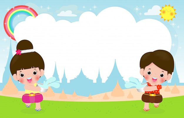 Songkran festiwal, tajlandia podróży pojęcie, dzieciaki cieszą się chełbotanie wody ilustrację