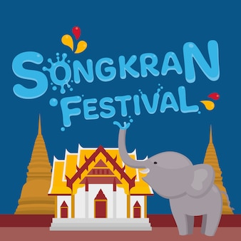 Songkran festiwal z słoniem i tajlandzkim krajobrazowym tłem. ilustracja.