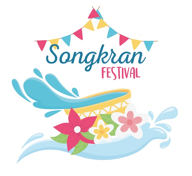 Songkran festiwalu miska z wodą kwiaty flagi dekoracji