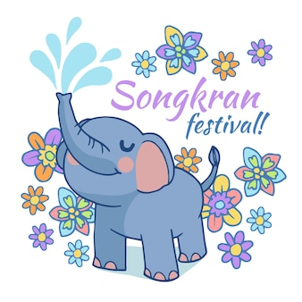 Songkran piękne ręcznie rysowane