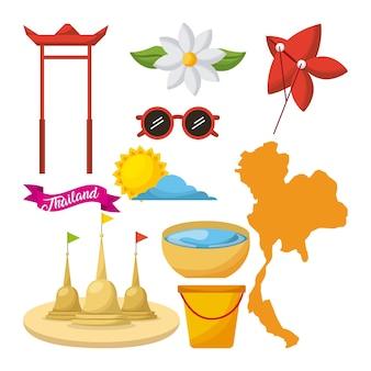 Songkran thailand festiwalu ikony