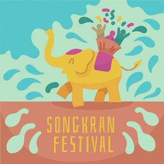 Songkran ze słoniem