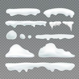 Sople wektorowe i elementy śniegu na przezroczystym tle. kolekcja wektorów efektów śniegu