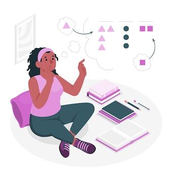 Sortowanie ilustracji koncepcja myśli