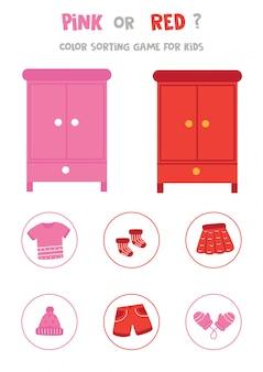 Sortowanie kolorów dla dzieci w wieku przedszkolnym. różowy lub czerwony.