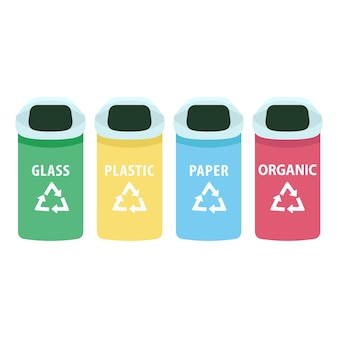 Sortowanie kreskówka kosze na śmieci. miejskie kosze na śmieci na szkło, papier, plastik i organiczne przedmioty płaskie. segregacja odpadów, pojemniki do segregacji na białym tle
