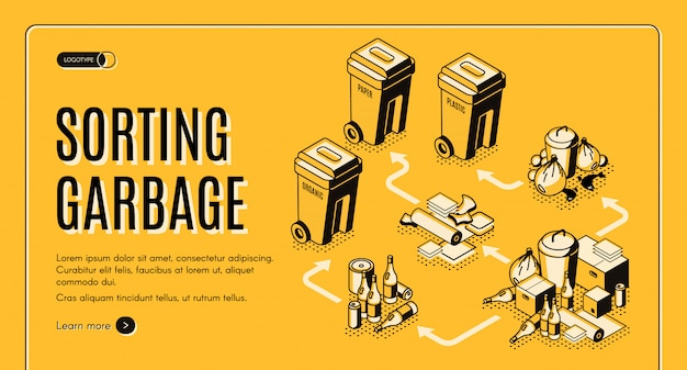 Sortowanie odpadów i śmieci izometryczny szablon baneru internetowego z koszami na śmieci
