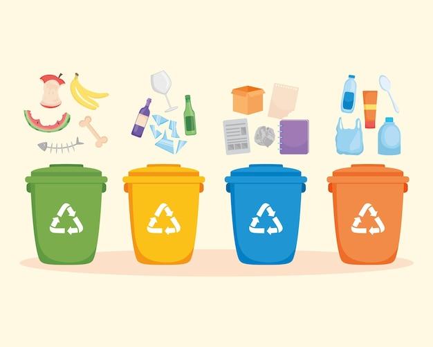 Sortowanie odpadów na tle