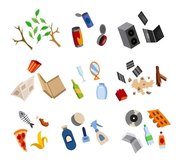 Sortowanie śmieci. wiele posortowanych elementów do recyklingu. segregacja odpadów przed śmietnikiem. koncepcja gospodarowania odpadami