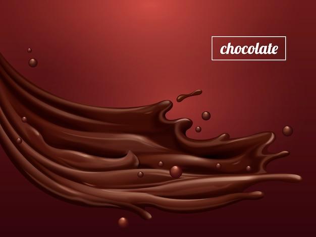 Sos czekoladowy premium, płynący słodki sos o gładkiej teksturze na szkarłatnym tle,