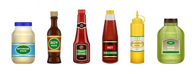 Sos z butelki ilustracja na białym tle. realistyczny zestaw ikona sos do grilla. realistyczny zestaw przypraw do butelek.