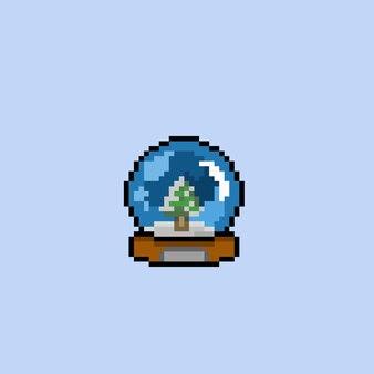 Sosna w szklanej kuli w stylu pixel art