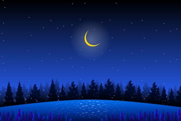 Sosnowy las z gwiaździstym nocnym niebem krajobrazem