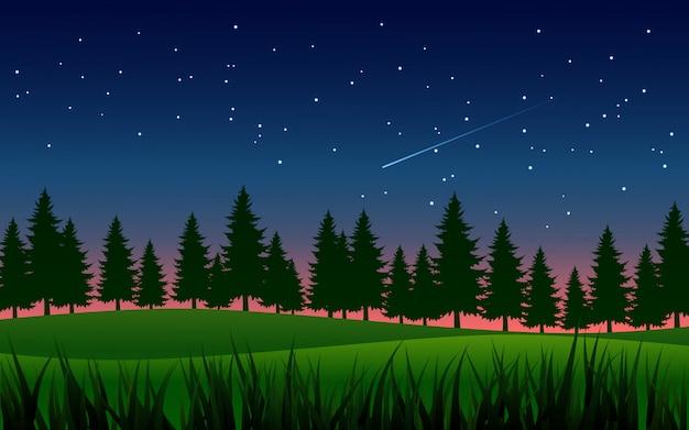Sosny na łące pod gwiaździstym niebem