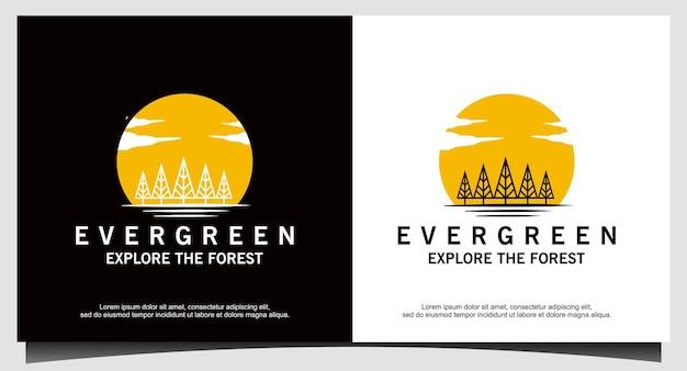 Sosny, świerk, drzewo cedrowe wektor projektu logo