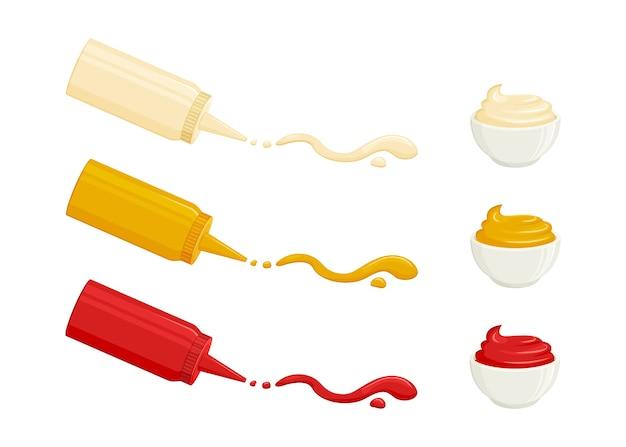 Sosy. majonez, musztarda, keczup pomidorowy. sosy w butelkach i miseczkach. ilustracja żywności