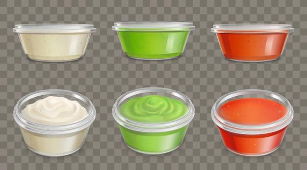Sosy w plastikowych pojemnikach realistyczny wektor zestaw