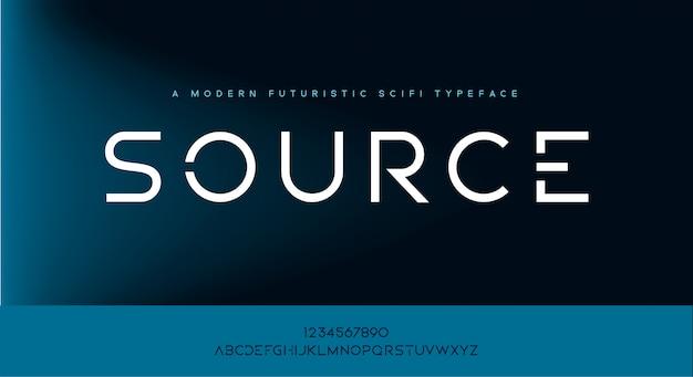 Source, nowoczesny, minimalistyczny krój czcionki futurystycznego alfabetu scifi tech.
