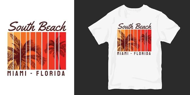 South beach miami florida z projektem koszulki z palmowym zachodem słońca