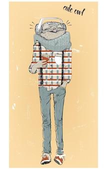 Sowa hipster ładny moda ze słuchawkami. ilustracja wektorowa