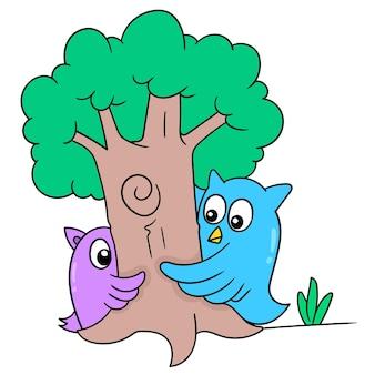 Sowa i jego przyjaciel bawili się w chowanego pod wielkim drzewem, ilustracja wektorowa sztuki. doodle ikona obrazu kawaii.