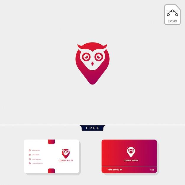Sowa koncepcja kreatywnych logo szablon i szablon wizytówki to