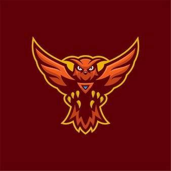 Sowa kreskówka logo szablon ilustracja. gry z logo e-sportu premium wektor