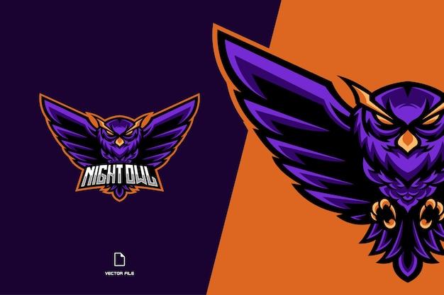 Sowa maskotka logo gry esport i szablon ilustracji zespołu sportowego