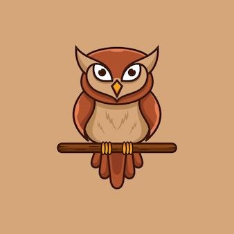 Sowa maskotka logo projekt ilustracji wektorowych