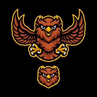 Sowa maskotka logo wektor szablon