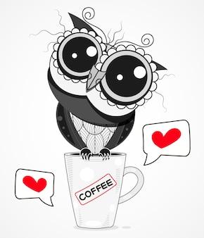 Sowa na filiżance kawy wektor ilustracja kreskówka na tle. projekt na kartkę z życzeniami, tekstylia dekoracyjne