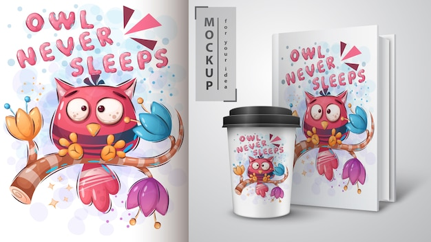 Sowa nigdy nie śpi plakat i merchandising