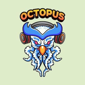 Sowa ośmiornica z ilustracją słuchawek w stylu vintage w nowoczesnym stylu na t-shirt