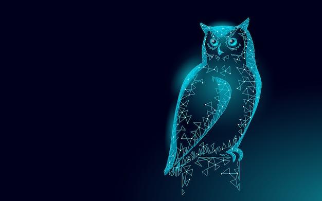 Sowa ptak symbol mądrej edukacji. koncepcja e-learningu na odległość. ukończyć