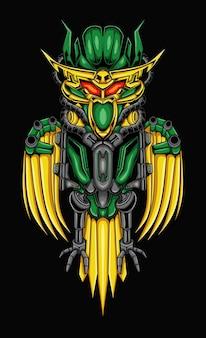 Sowa robotyczna ilustracja w stylu cyborga