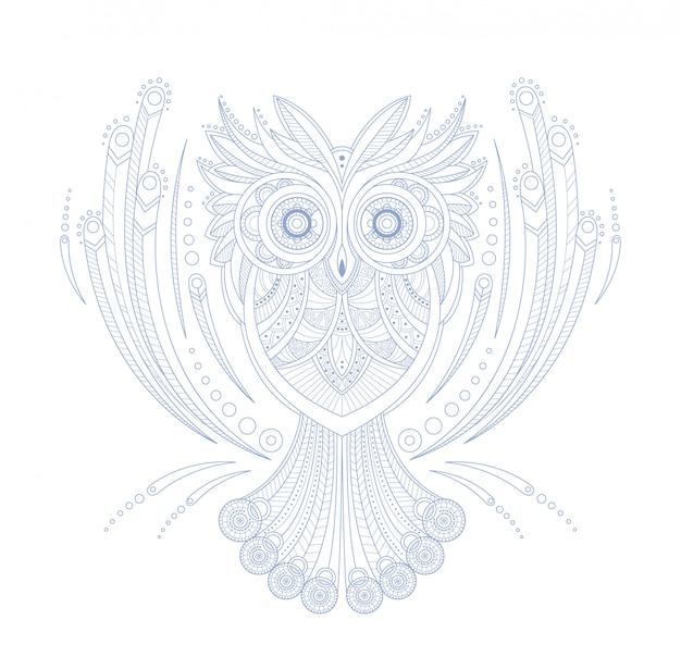 Sowa stylizowane doodle zen kolorowanka strona