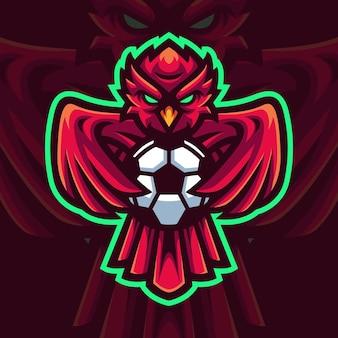 Sowa trzymająca piłkę maskotka gaming logo szablon dla streamera e-sportowego facebook youtube