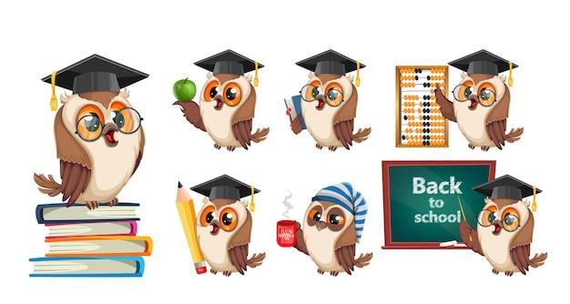 Sowa w czapce dyplomowej, zestaw siedmiu póz. powrót do koncepcji szkoły. postać z kreskówki mądra sowa