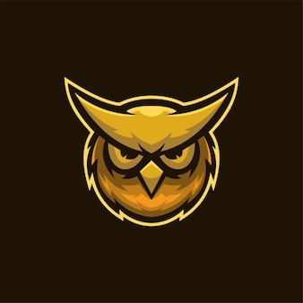 Sowa zwierzęca głowa kreskówka logo szablon ilustracja esport logo gaming premium vector