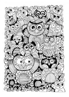 Sowy doodle dla kolorowanka.