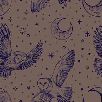 Sowy na nocnym niebie. ptaki, księżyc, gwiazdy. vintage wektor wzór. szkice graficzne. streszczenie ornament w stylu boho. projektowanie dekoracji, tapet, okładów, tekstyliów, pocztówek, wydruków.