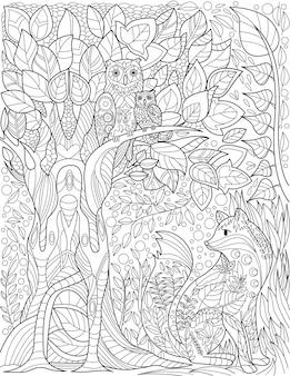 Sowy na wysokiej gałęzi drzewa w lesie z małym lisem poniżej bezbarwnych linii rysujących ptaki na gałęziach