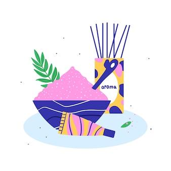 Spa akcesoria zestaw sól do kąpieli krem zapach ilustracji wektorowych