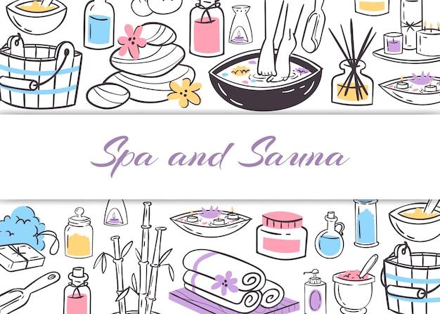 Spa i sauna, zdrowie panie i uroda gryzmoły ilustracja plakat.