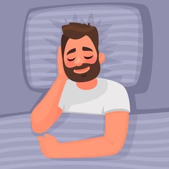 Spać. w łóżku śpi mężczyzna. dobranoc. w stylu kreskówki