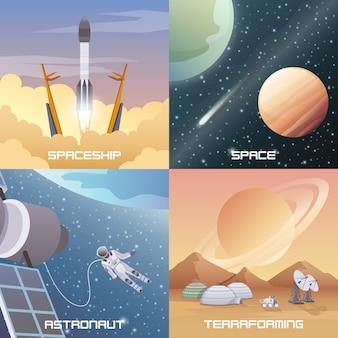 Space exploration 2x2 flat design concept